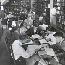 Students studying in Carleton Library, 1952