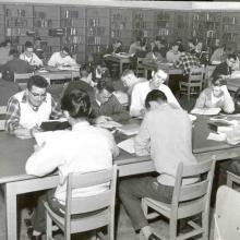 Students studying at the Carleton College Library, 1954