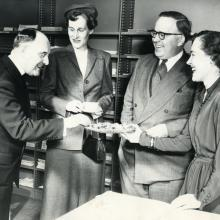 Carleton College Library staff and guests, 1953, Hilda Gifford on far right.