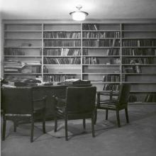 Librarian's desk in Carleton College Library, 1954
