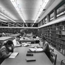 Students studying at Carleton College Library, 1954
