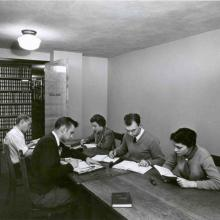 Students studying in the Special Study room at Carleton Library, 1954