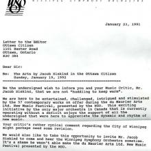 Letter to Jacob Siskind from Winnipeg Symphony Orchestra protesting how they were characterized in his critique
