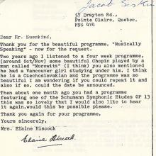 Letter to Jacob Siskind in support of his radio show, Musically Speaking